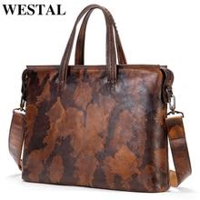 WESTAL Briefcase Bag For Men Genuine Leather Men Briefcase Laptop Bag For 13 Leather
