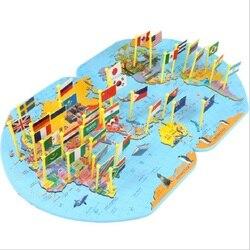 Mappa del mondo di Mettere la bandiera Dei Bambini imparare circa la geografia del mondo di Legno di puzzle di intelligenza sviluppo