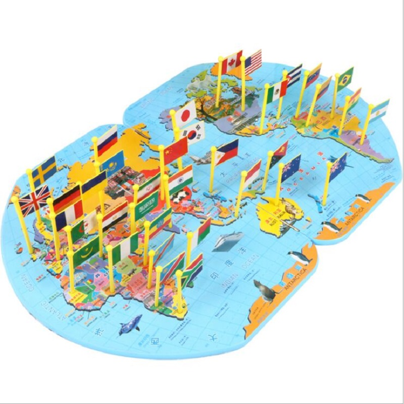World Map Put The Flag Children Learn About World Geography Wooden Puzzle Intelligence Development
