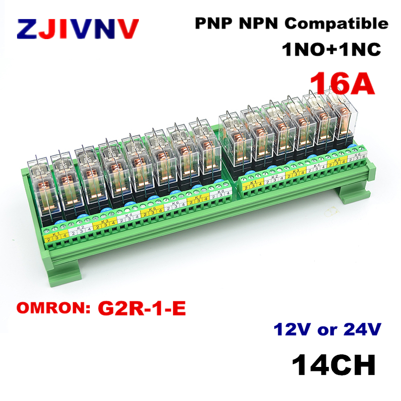 Module d'interface de relais de puissance du bâti 16A de Rail DIN de 14 canaux 1 NO + 1 NC avec le G2R-1-E d'omron DC12v/24 V compatible de relais PNP NPN