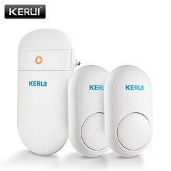 Kerui m518 campainha sem fio auto geração de energia segurança em casa bem vindo inteligente sinos da porta led luz 52 músicas com botão