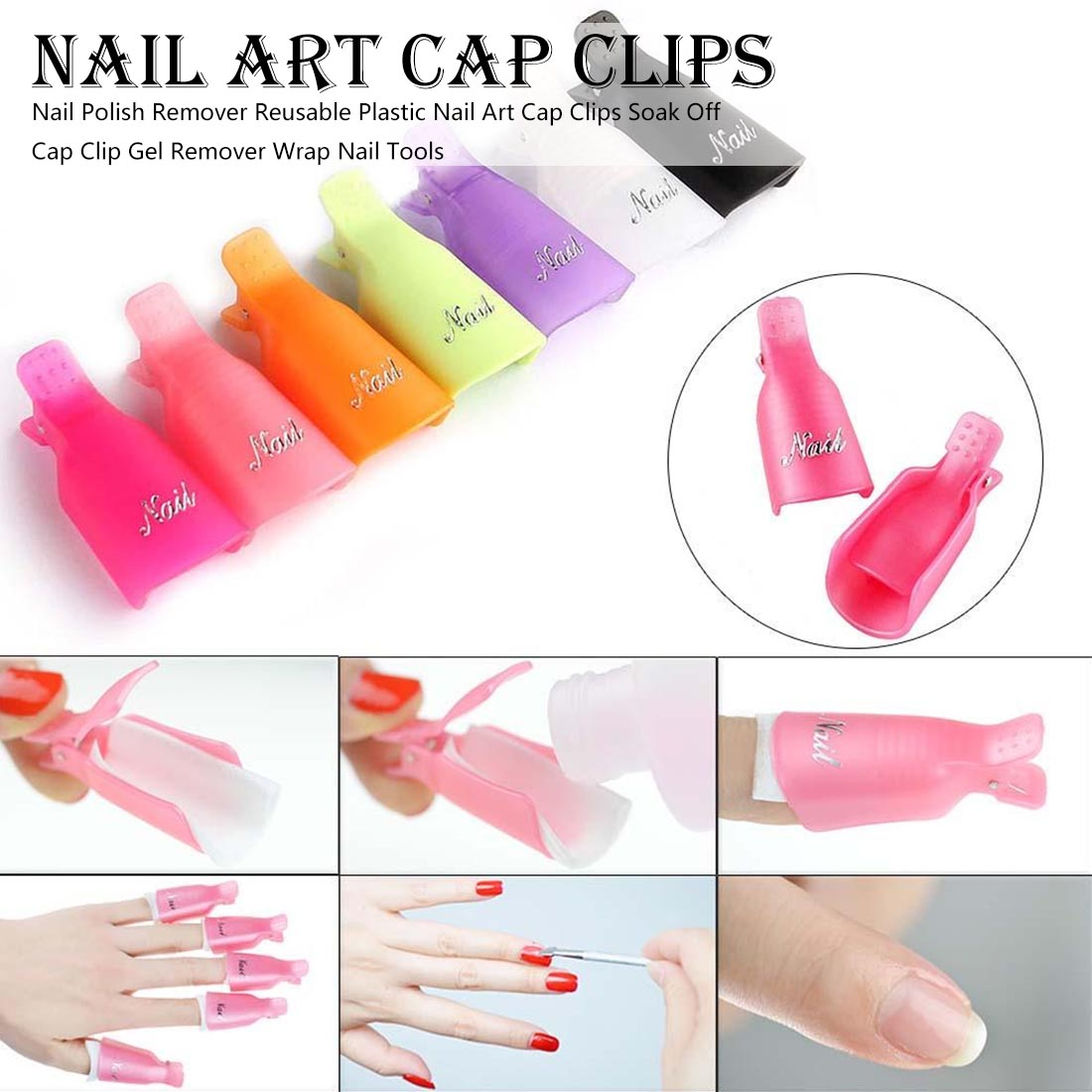 Image 2 - 10pcs UV Gel Remover Cap Clips for Gel Varnish Degreaser for Nails Manicure Clamps Plastic Acrylic Nail Art Soak Off Clip Cap-in Nail Polish Remover from Beauty & Health