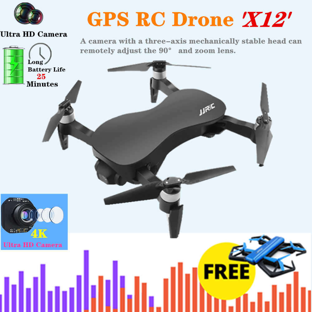 RC GPS Drone JJRC X12 Quadcopter Drones with 5G 4K Camera HD Optical Flow Brushless Dron with Stabilizing Gimbal VS F11 B4W