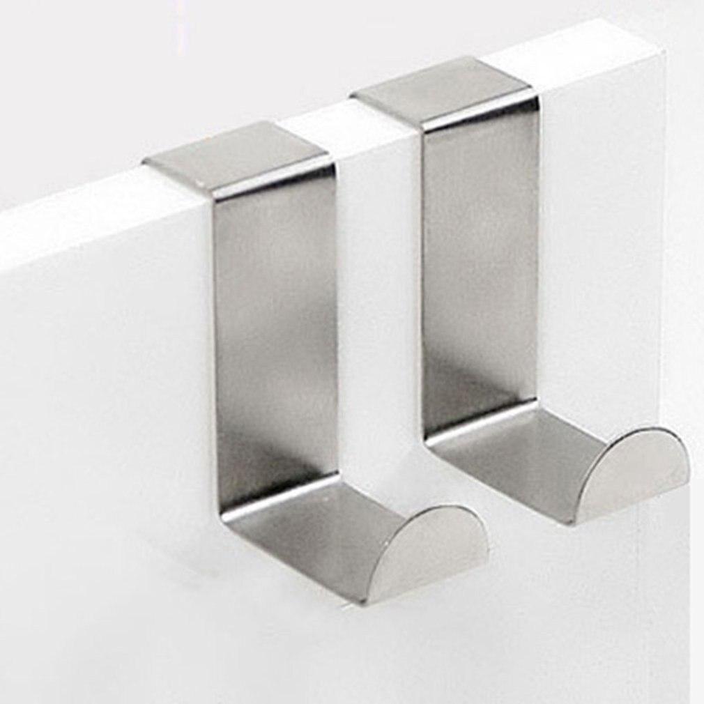 Over The Door Hooks Hanging Towel Rack Stainless Steel Multiple Use Z Shaped Cabinet Door Hooks Storage Organizer