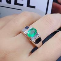 Natural emerald ring Free shipping 925 sterling silver 5*7mm gemstone Fine jewelry for man