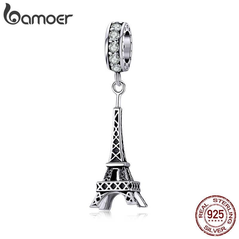 Bamoer 925 prata esterlina retro torre eiffel pingente charme para pulseira ou colar 925 prata esterlina jóias bsc154