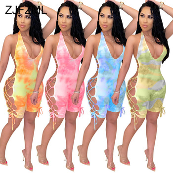 Tie Dye Print Sexy Bodycon Playsuit Women Off The Shoulder Side Lace Up Short Romper Summer Halter Neck Backless Beach Bodysuit tie dye skull print lace up back tee