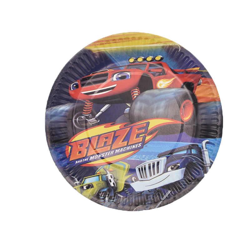 Blaze Monster Machines Ontwerp Versieren Cups Platen Kids Gunsten Baby Douche Gerechten Glas Vlaggen Verjaardagsfeestje Servies Set