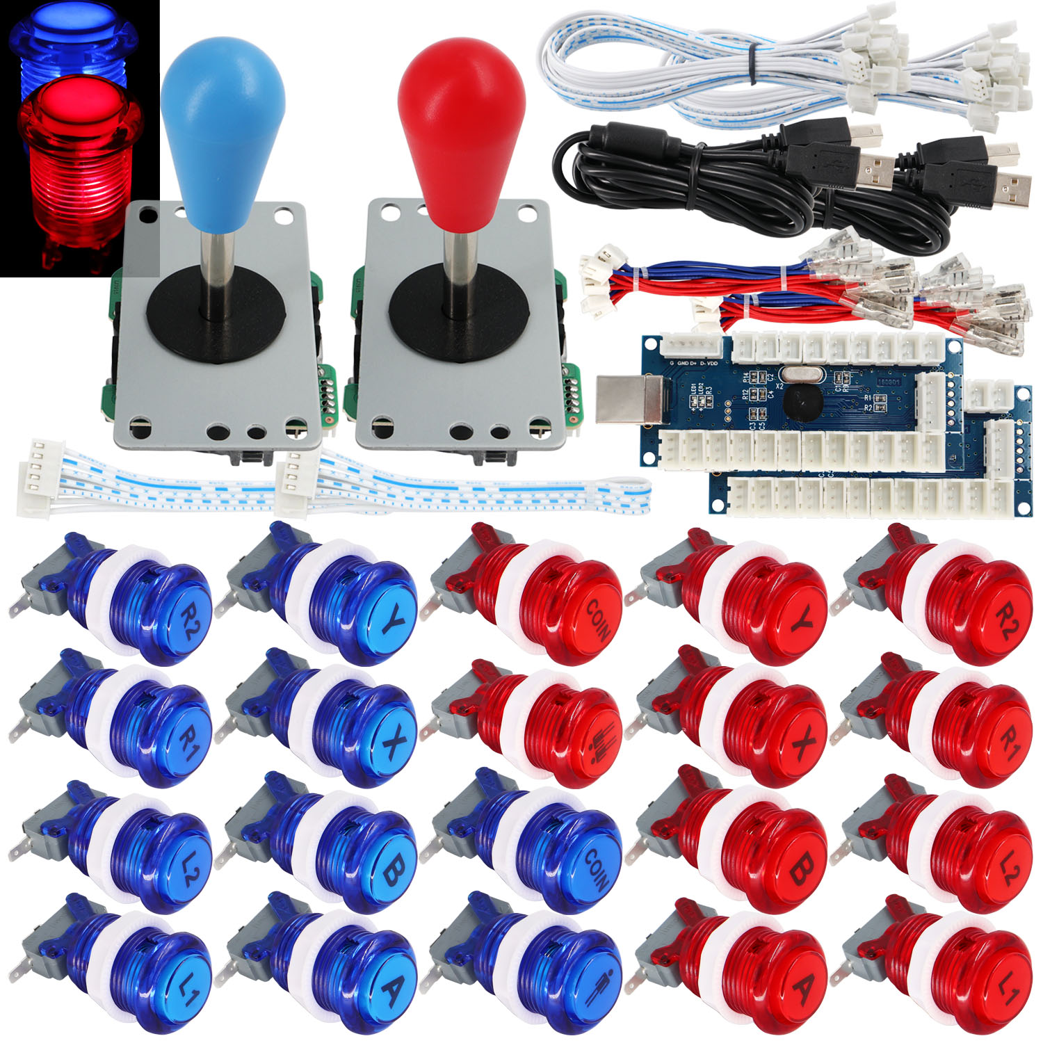 SJ@JX 2 Player Arcade Game Stick DIY Kit Button LED 8 Way Joystick USB Encoder Cable Controller for MAME Raspberry Pi