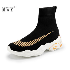 Image 1 - Mwy moda meia tênis feminino respirável elasticidade voando tecido casal sapatos casuais sola macia zapato mujer cunha plataforma