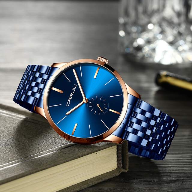 CRRJU męskie zegarki moda wodoodporny analogowy zegar Casual Sport ze stali nierdzewnej wodoodporny zegarek świetlny Relogio Masculino