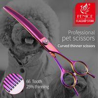 Fenice high end 7.0 inch professional dog grooming scissors curved thinning shears for dogs & cats animal hair tijeras tesoura