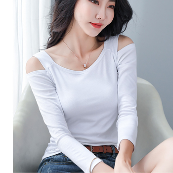 Camisa Feminina 2020 Off The Shoulder Tops For Women T Shirt Slash Neck Womens Long Sleeve T-Shirt Female Tshirt Korean Clothes grey slit design off the shoulder t shirt
