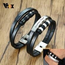 Vnox – Bracelets en cuir décontractés pour hommes, avec Service de gravure personnalisé, Double couche, barre d'identification en acier inoxydable, bijoux masculins de 20.5cm
