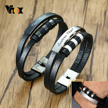 Vnox Casual Men's Leather Bracelets with Customize Engrave Service Double Layers Stainless