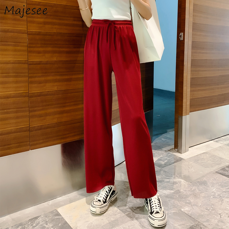 Pants Women Summer Thin Breathable Wide Leg Trousers Womens Solid All-match Soft Korean Style Drawstring Ankle-length Elegant