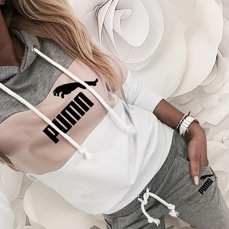 Ropa deportiva con capucha para mujer, de 2 piezas Sudadera con capucha, jersey de manga larga de retales, primavera y otoño, 2021