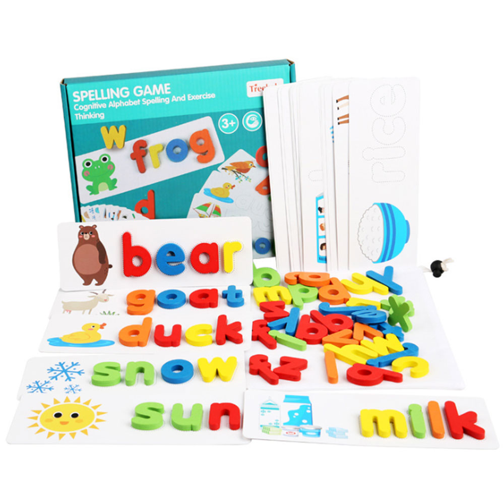 Wooden Alphabet Letter Learning Cards Set Word Spelling Practice Game Toy English Letters Spelling Card Word Toys