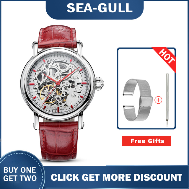 Seagull watch MAN m182sk Automatic Mechanical women's Watch Self Winding Power Reserve Flywheel red band red needle 1