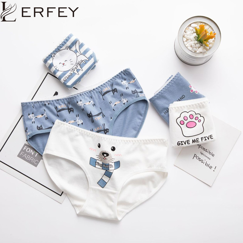 LERFEY Women's Briefs Cartoon Print Cotton Underwear Seamless Girls Sexy Lingerie Ultra-thin Breathable Panties Female Underpant