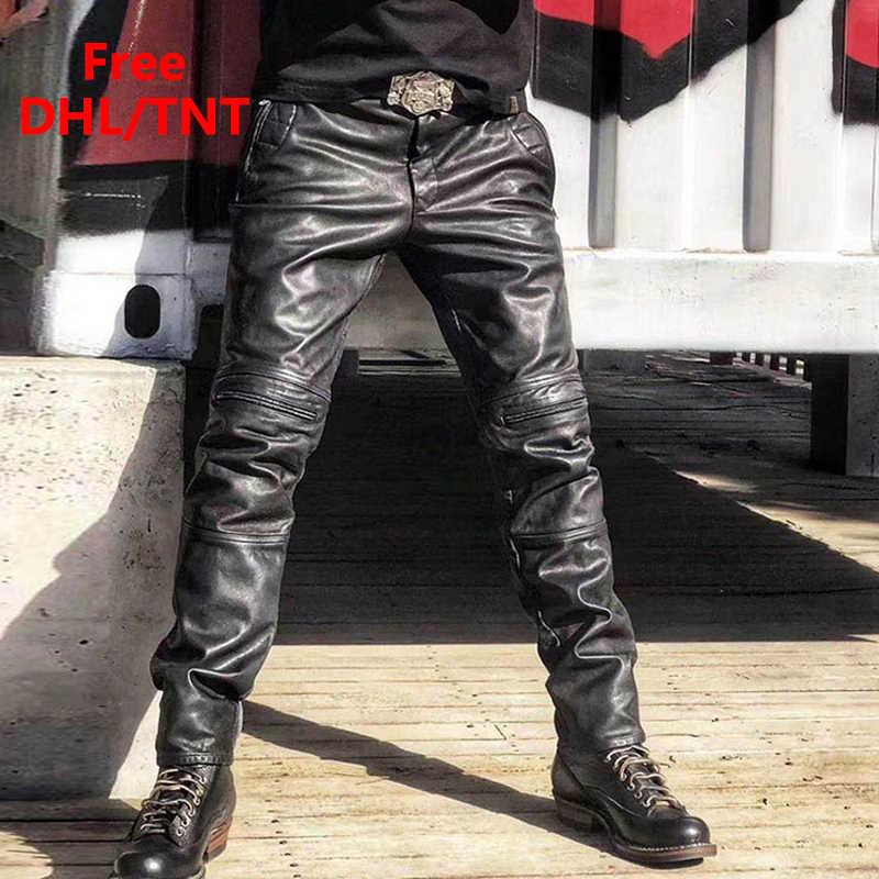 Men/'s Cowhide Leather Punk Kink Pantalon Jeans Pantalon breecheese Motard Pantalon