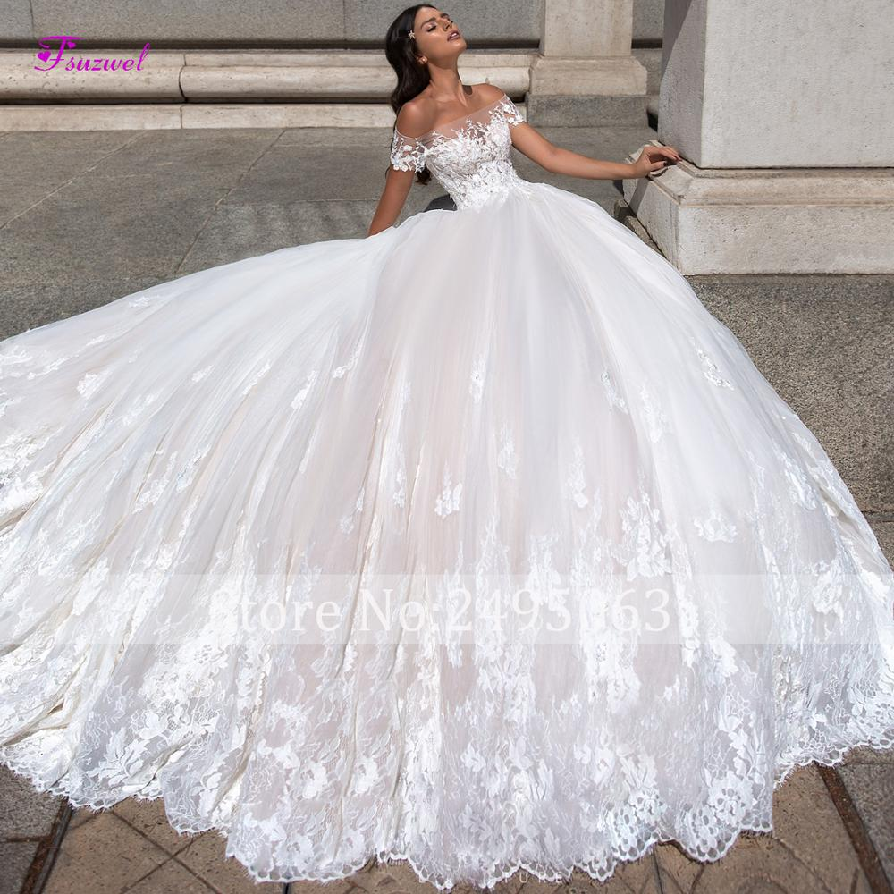 Glamorous Court Train Appliques Boat Neck Ball Gown Wedding Dresses 2020 Luxury Beaded Short Sleeve Bridal Gown Vestido de Noiva