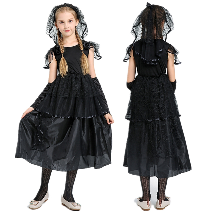 Kids Gothic Bride Cosplay Halloween Dress For Girl Scary Costume Witch Role Play Vampire Fancy Devil Horror Veil Carnival Party