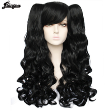Ebingoo Lolita Long Body Wave High Temperature Fiber Brown Pink Black Blonde Multi color Synthetic Cosplay Wigs with 2 Ponytails