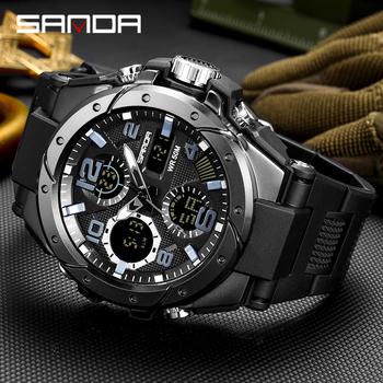 SANDA nowe sportowe męskie zegarki wojskowy kwarcowy zegarek z podwójnym wyświetlaczem mężczyźni wodoodporny S Shock rozrządu męski zegar relogio masculino tanie i dobre opinie 26cm QUARTZ Podwójny Wyświetlacz Cyfrowy 3Bar Skóra wdrażania wiadro RUBBER 18mm Hardlex Kwarcowe Zegarki Na Rękę