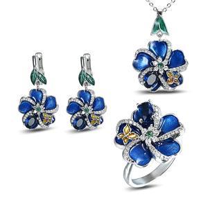 925 Серебряная перегородчатая голубая слива цветок эмаль цветок Висячие ожерелье серьги ювелирный набор