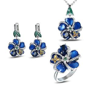 925 Silver Cloisonne Blue Plum Flower Enamel Flower Hanging Necklace Earrings Jewelry Set(China)