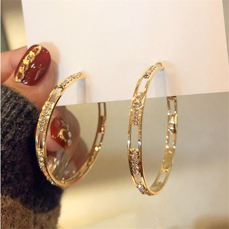 FYUAN Golden Round Crystal Hoop Earrings for Women Bijoux Geometric Rhinestones Earrings Statement Jewelry Party Gifts