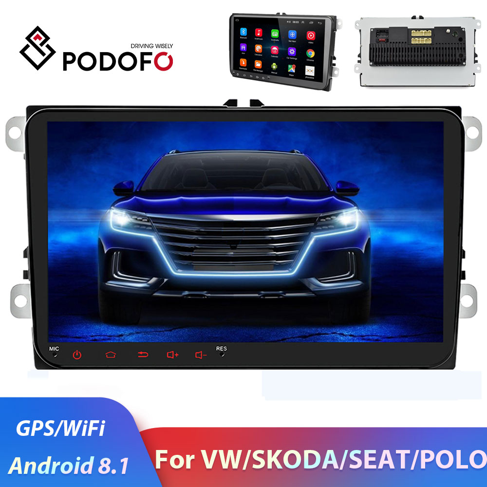 Podofo 2 Din Android Car <font><b>radio</b></font> 2DIN Car Multimedia Player GPS 2din autoradio For Volkswagen <font><b>VW</b></font> Skoda Seat Octavia <font><b>touran</b></font> passat image