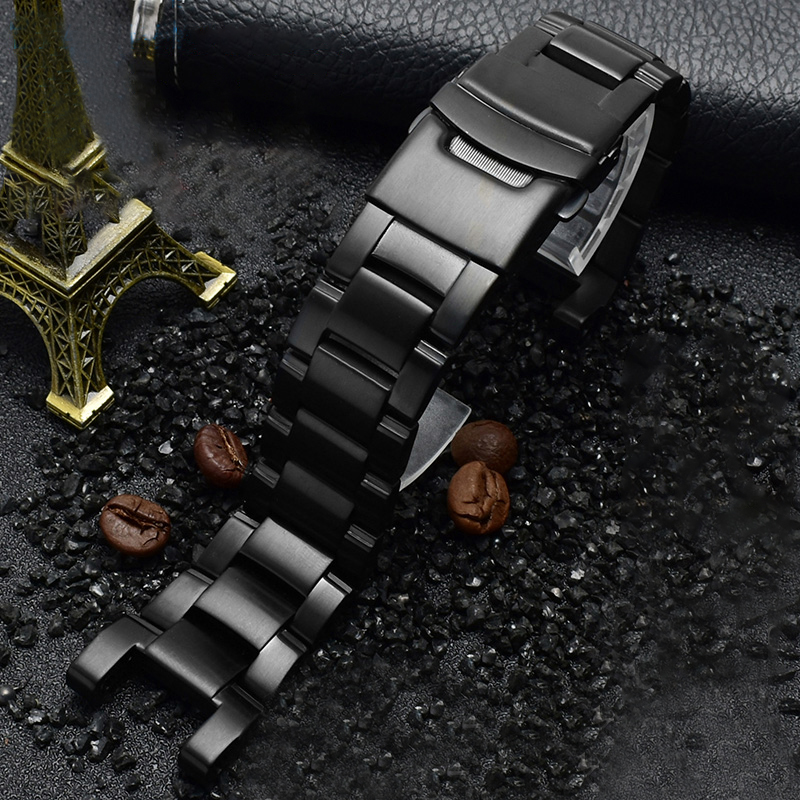 Solid Stainless Steel Bracelet for Casio <font><b>g</b></font>-<font><b>shock</b></font> GW-A1100/GW-4000/GA-1000/<font><b>G</b></font>-1400 Watch Strap Notch Black Metal <font><b>Watchband</b></font> Tools image
