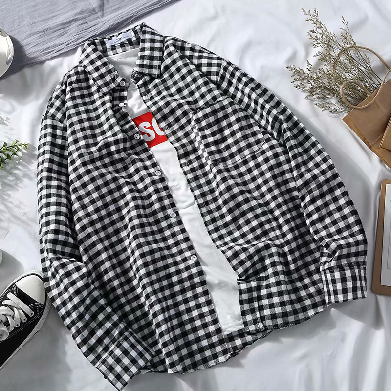 Spring And Autumn Hong Kong Style Slim Fit Plaid Shirt Men Korean-style Trend Youth Students BF Style Casual Long-sleeve Blouse