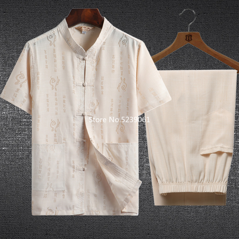 Men Oriental Tang Suit Traditional Chinese Kung Fu T-shirt Pants Clothing Set Tai Chi Uniform Short Sleeve Linen Blouse Costumes