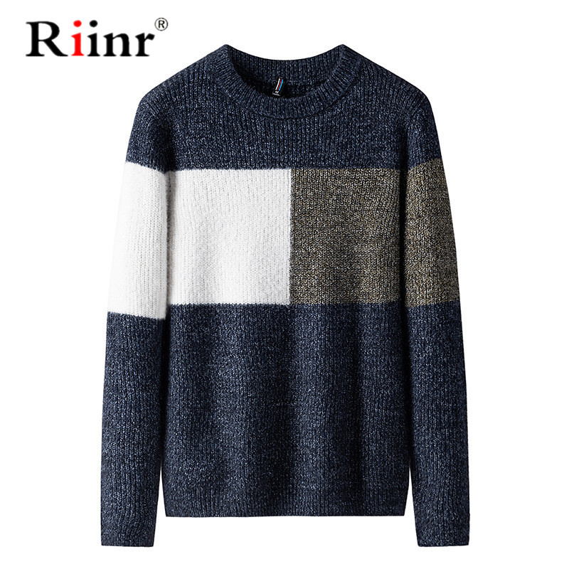 Autumn Winter Brand Men Sweater O-Neck Patchwork Slim Men Casual Long Sleeve Patchwork Pollover Sweaters Mens Thin Clothes