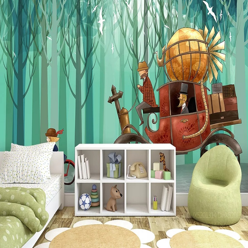 Custom Large Mural 3D Wallpaper Fairy Tale World Cartoon Carriage Forest Child Bedroom Mural TV Back Wall Decor Deep 5D Embossed