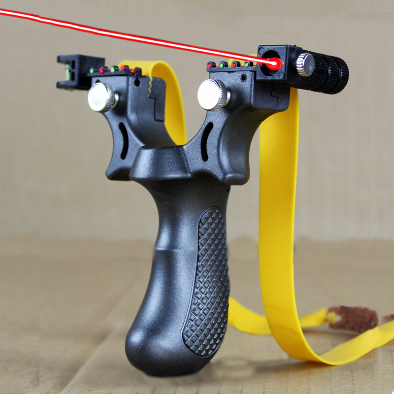 Resin Hunting Slingshot With Red Laser Aiming Rubber Band Powerful Sling Shot Pocket Shot For Outdoor Shooting Fishing Catapult