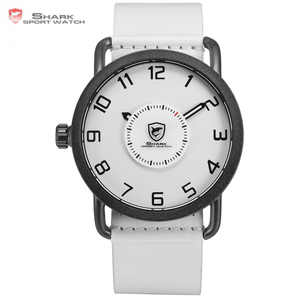 Shark Sport Watch Men White Simple Left Side Crown Turntable Rotate Second Hand Leather Strap Quartz Watches Caribbean Rough