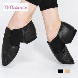 Image 2 - פעוט מקצועי ג אז ריקוד נעלי ילדים להחליק על סניקרס Geniune עור נעל עבור בנות שיזוף שחור נעלי תינוק