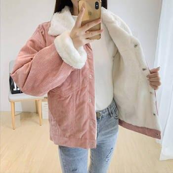 Spring Autumn Corduroy Basic Jacket Lambswool Women Bomber Jacket short Outwear Women s jacket Warm