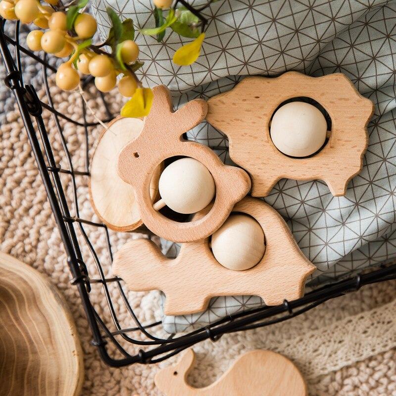 Baby Molar Toys Cartoon Animals Shape Food Grade Wooden Teething Toys For Newborn Montessori Handmade Rattles Baby Teethers Toys