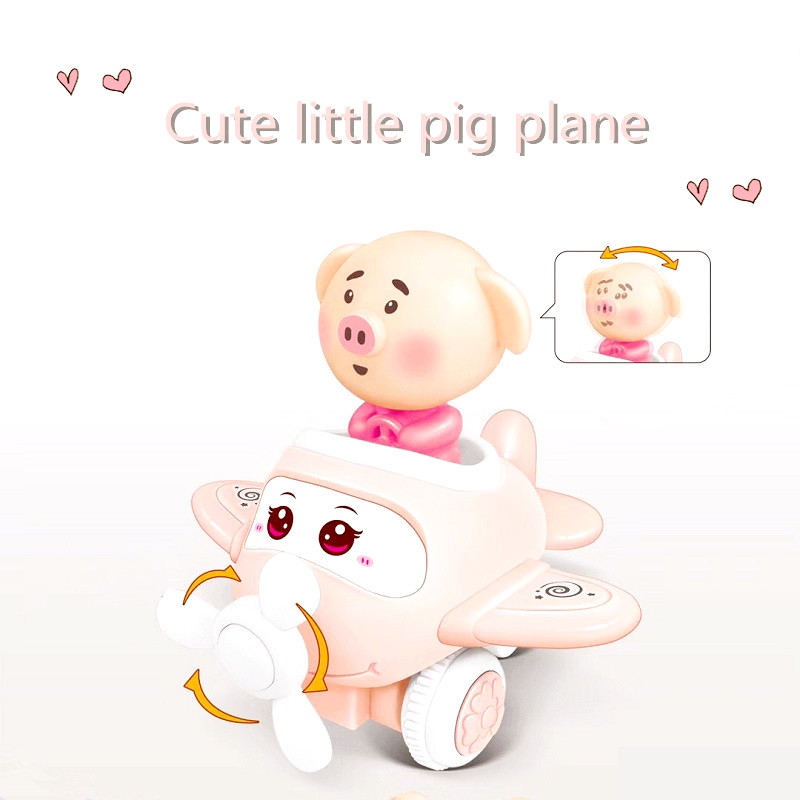 Kids Cartoon Cute Pig Inertia Small Plane Car Small Toy Baby Puzzle Education Toys Interesting Creative Toy Plane