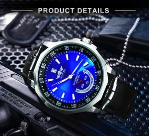Image 3 - Vencedor oficial militar esportes relógio masculino automático mecânico sub mostradores calendário pulseira de couro dos homens relógios marca superior luxo