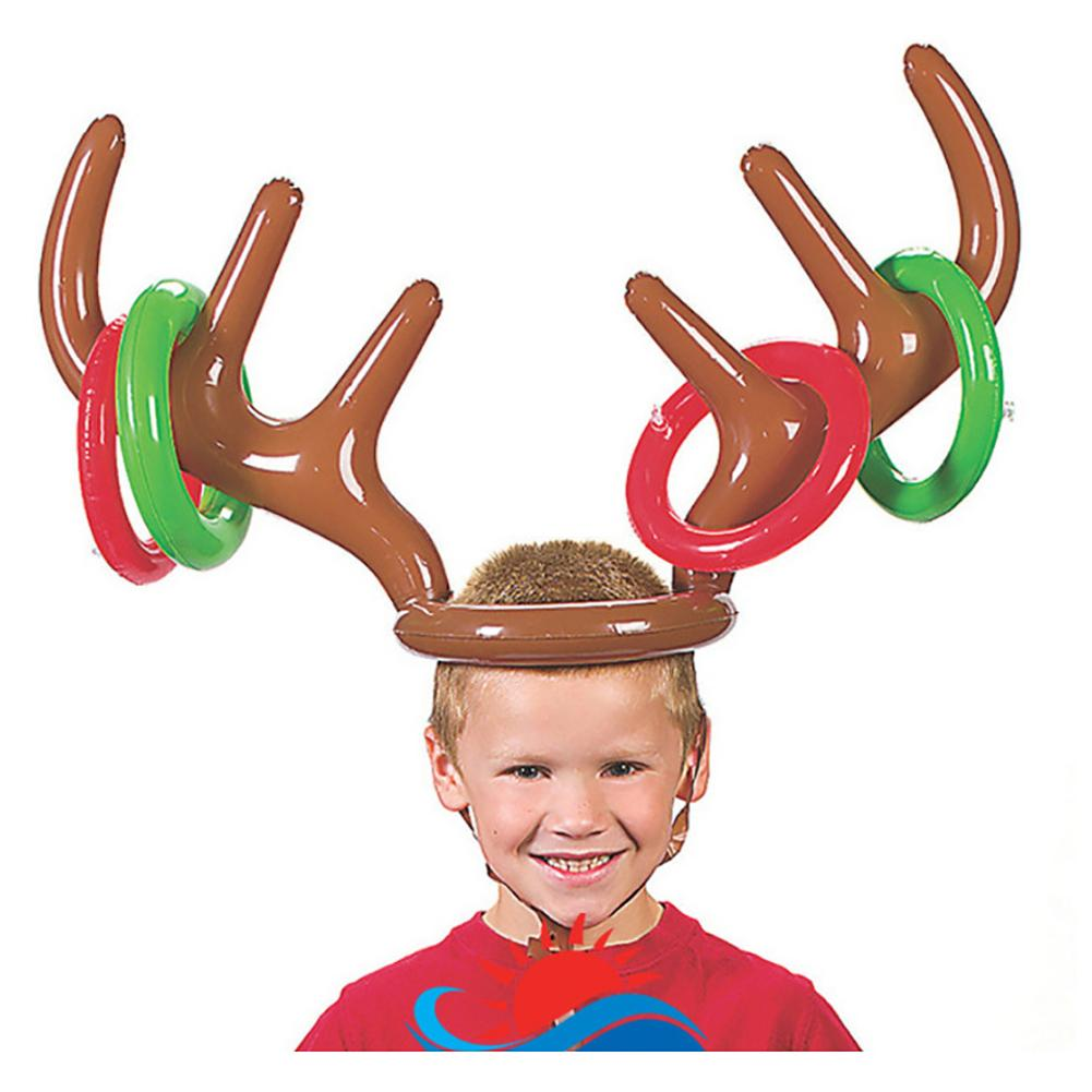 Hot Children Kids Adult Christmas Inflatable Deer Elk Horn Cap Toys Xmas Party Props Decor Best Gift