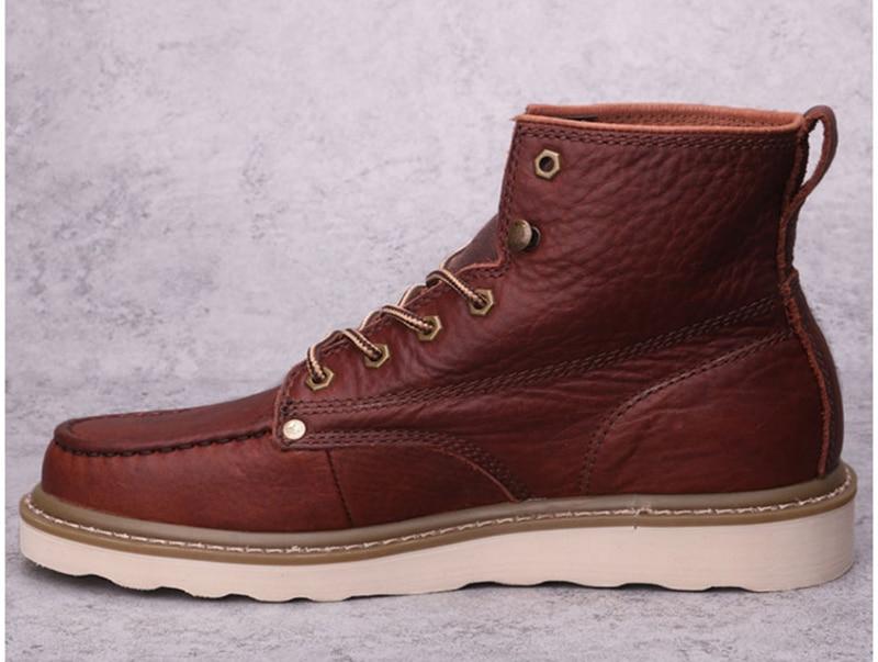 até marrom cheio grãos sapatos de segurança