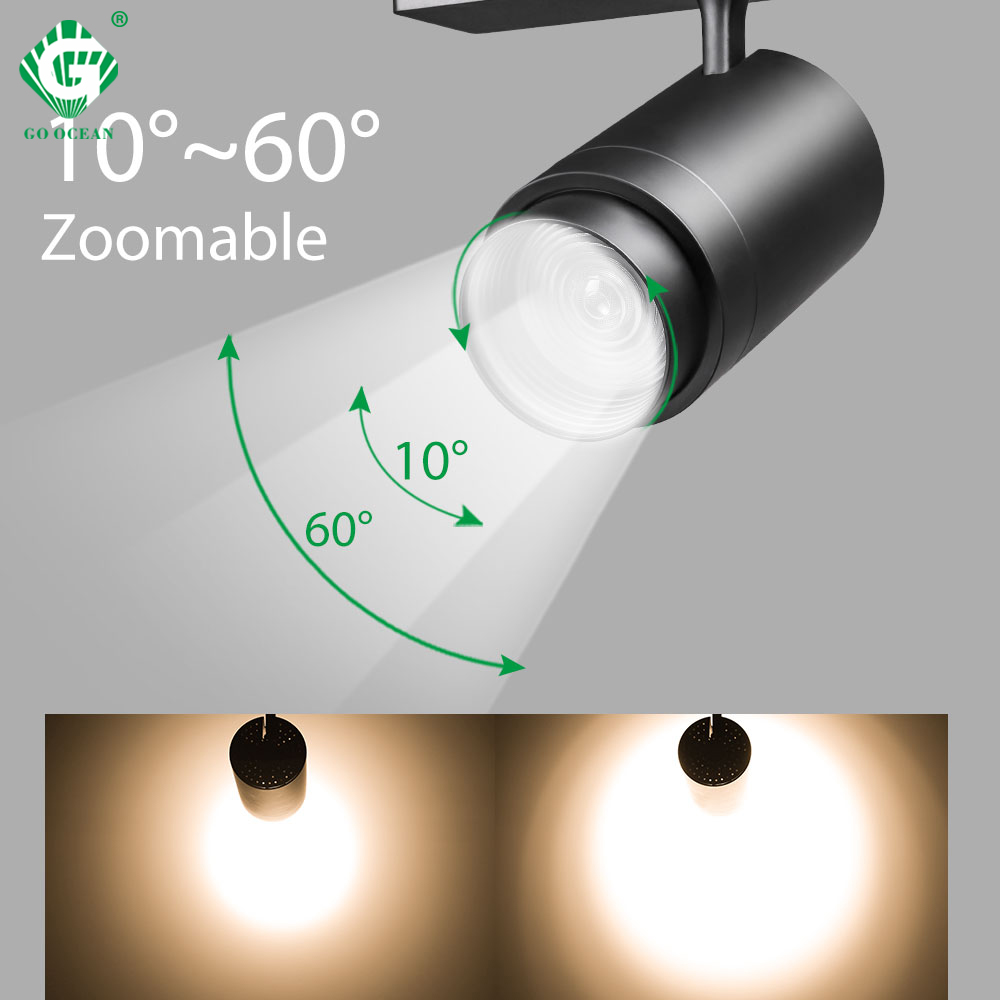 Zoomable 12W 20W 30W LED Track Light 2 3 4 Wire 3 Phase Dimmable Rail Spot Lighting Fixtures Spotlights Ceiling Zoom Track Lamp