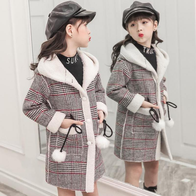 Autumn Winter Toddler Girls Woolen Coat Long Wool Coat For Girl Kids Outerwear Jacket Roupa De Frio Infantil Girl plaid jacket