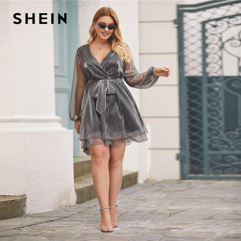 SHEIN Plus Size Grey Surplice Wrap Belted Metallic Organza Dress Women Winter Spring V-neck Glamorous Party Sheer Mini Dresses 1